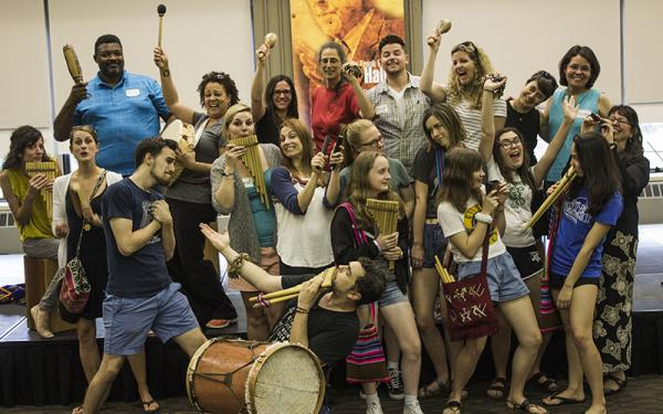 Group of CLAS students and instructors with traditional musical instruments