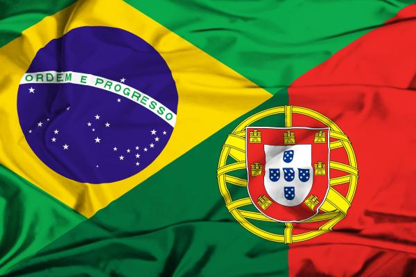 Brazil and Portugal flags
